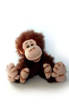 Crochet monkey Orangutan Crochet toy by KnittedToysNatalia on Etsy