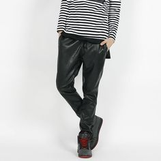 Remember Click Slim Fit Drawstring Leather Pants BLACK S M Korean Wear #RememberClick #CasualPants