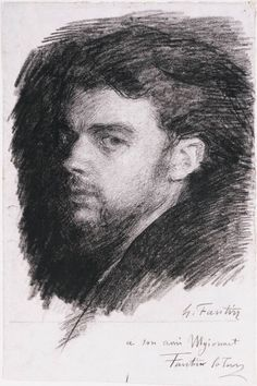 Self-Portrait, Henri Fantin-Latour 1836-1904, Black chalk on medium-weight laid paper
