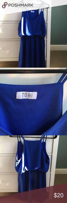 Tobi Dress Royal blue dress from Tobi. Size medium. Only worn once! Almost perfect condition besides small, but repairable, rip in front (see picture)! Tobi Dresses Mini