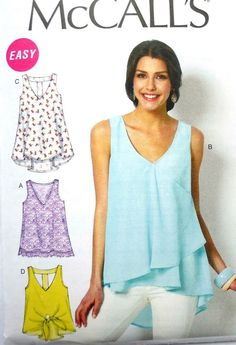 M6960 McCall's Sewing Pattern EASY Misses 4-26 Pullover Tank Top Tunic #McCalls #EASY