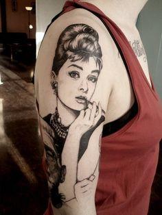 Audrey Hepburn tattoo. I love this!