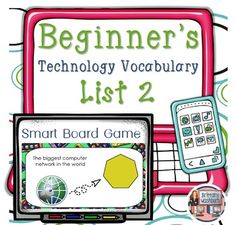 Technology Vocabulary Flash Cards using SMART Notebook- List 2. Perfect for your beginning readers or ELL students with visual graphics and text. $