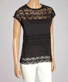 Loving this Black Crocheted Eyelet Cap-Sleeve Top on #zulily! #zulilyfinds