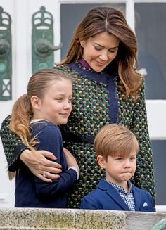 Crown Princess Mary, Princess Isabella and Prince Vincent of Denmark attend the 77th birthday celebrations of Danish Queen Margrethe at Marselisborg Palace on April 16, 2017 in Aarhus, Denmark.