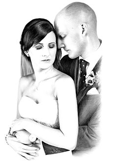 Hand-drawn pencil portrait drawing of a couple at the wedding ceremony.