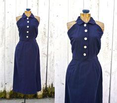 1940s dress / vintage 40s dress / Navy Salute dress