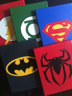 Superhero Wall Decor set of 3 superhero wall art, super hero handmade canvas paint
