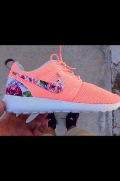buy online dc1fe 48109 shoes neon orange pink nike nike free runs cute girly floral nike roshe run  flowers roshe run roshe runs atomic pink, roshe nike, floral, ru.