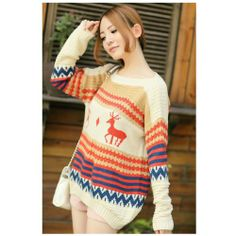 Women Sweater Christmas 2013 Geometry Deer Long Knitted Dresses Doll Pullover Sweater for Winter Tops Tee « Clothing Impulse
