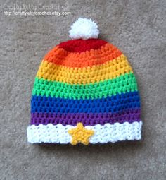 Crochet Rainbow Brite-Inspired Hat Babies by craftykittycrochet