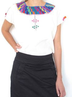 Traditional Mexican Blouse | Geo Pattern | Chiapas Bazaar | Handmade Mexican Blouses, Accessories & Home Decor from Rural Artisans