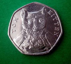 Beatrix Potter, Commemorative Tom Kitten coin UK, from 2017 Collection Celtic Circle, 50p Coin, Book Of Kells, World Coins, Encaustic Painting, Chalk Pastels, Illuminated Letters, Wood Engraving, Beatrix Potter