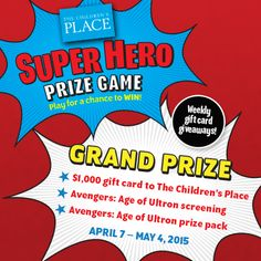 Play for a chance to win weekly gift card giveaways, an Avengers 2 screening and more! Promotion ends May Avengers 2, Instant Win Games, From Where I Stand, Game Calls, Gift Card Giveaway, Winner Winner, Kitchen Things, Game App, Your Turn