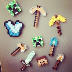 Minecraft magnets perler beads by susanrwlliams