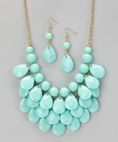 Take a look at this Aqua Waterdrop Necklace & Earrings by Polka Dotsy on #zulily today!