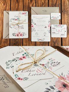 Para E&L hicimos una invitación romántica, con motivos florales