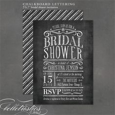 Chalkboard Bridal Shower Invitation, vintage chalkboard lettering printable invite