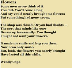 Flowers - Wendy Cope