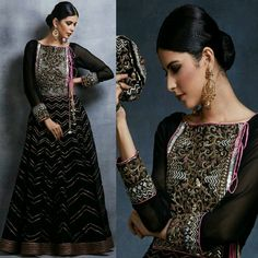 This Festive Season Dress To Impress with This Elegant Black Anarkali with our Classic Chevron Gotta Patti Highlights That Never Goes Out Of Fashion! #Gorgeous #Elegant #Style #SummerCasual #DivaniPakistan #LuxuryPret #FormalWear #Summer2017 #LuxuryFashion #PakistaniCouture #PakistaniFashion #PakistaniCelebrities