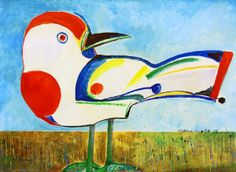 Pássaro, 1986 Aldemir Martins (Brasil,1922 – 2006) acrílica sobre tela, 60 x 81 cm