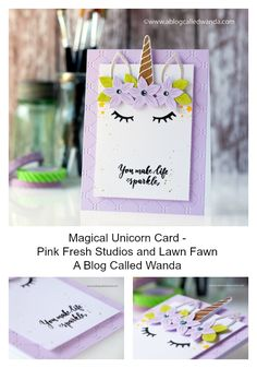 Handmade unicorn card! Pink Fresh Studio Magical Unicorn stamps and dies. Lawn Fawn background die. Easy and fun to make with stamping and die cutting. Wanda Guess.