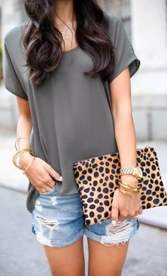 Necessary Clothing Dark Olive Loose Rounded Neck Tee