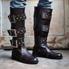 Brown Punk Rock Goth Style Above Knee High Western Biker Boots Men SKU-1280095