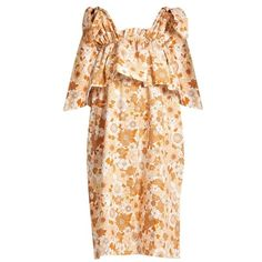 Chloé Ruffled-tier floral-print cotton dress (€1.515) ❤ liked on Polyvore featuring dresses, beige print, floral dresses, tiered ruffle dress, cotton dresses, retro floral dress and embellished dress