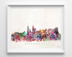 Barranquilla Skyline Watercolor Print