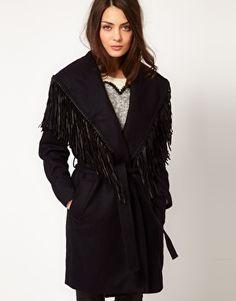 Selected Fringed Wrap Coat