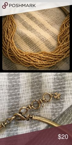 Lucky Brand Gold beaded necklace by Lucky Brand ☘️ Distressed gold finish. Excellent condition. Lucky Brand Jewelry Necklaces