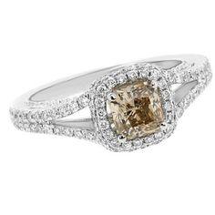 1.51ct VS2 Radiant Cut Champagne Cognac Fancy Brown Diamond Engagement Ring 18k White Gold Vintage Antique Style