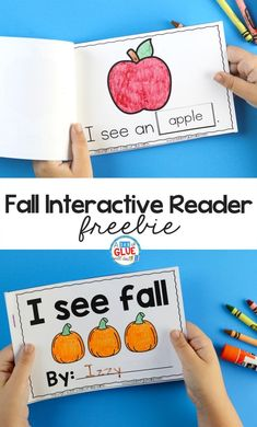 This I See Fall Interactive Reader is a fun hands-on way for students to actively engage and improve their reading skills and increase their vocabulary. Kindergarten Literacy, Kindergarten Activities, Preschool Projects, Early Literacy, Preschool Worksheets, First Grade Freebies, Fall Preschool, Tot School, Reading Skills