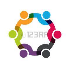 Social Network, Group of 6 people business men. Vector design