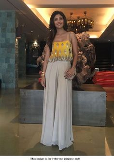 Buy Bollywood Shilpa Shetty georgette Readymade Yellow crop top with palazzoin UK, USA and Canada Indian Party Wear, Indian Wedding Outfits, Indian Wear, Indian Outfits, Designer Party Wear Dresses, Kurti Designs Party Wear, Indian Gowns, Indian Attire, Mehendi Outfits