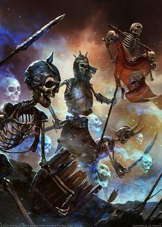 Skeleton Warriors, par JB Casacop, in Invasion, par Fantasy Flight Games Fantasy Kunst, Fantasy Rpg, Dark Fantasy Art, Medieval Fantasy, Fantasy Artwork, Skeleton Warrior, Skeleton Art, Skeleton King, Skeleton Makeup