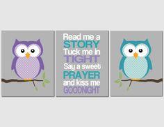 Owl Nursery Art Teal Plum Purple Girls Read Me A by vtdesigns