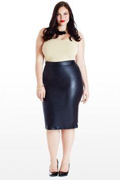 Plus Size Lusty Faux-Leather Midi Pencil Skirt BBW sexy curvy girl thick chubby plump Plus Size fashion model