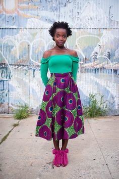 "Lem Daashi is an African inspired label straight from Ghana. All items can be purchased on their Etsy store LemDaashi. This is the ""Lem"" African Print skirt. 60 dollars. And the model's gorg."