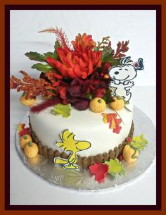 Snoopy and Woodstock fall themed cake