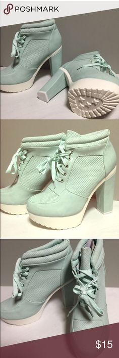 Mint green sneaker heel Mint green sneaker heels ❤️BRAND NEW they look comfortable beautiful shoes size 6 Shoes Sneakers