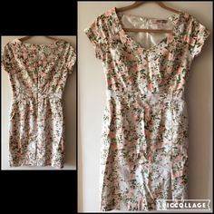 F21 Floral dress with slit Beautiful summer dress. Fully lined. Open sweetheart neckline. Form fitting silhouette with slit at skirt. Pre-loved in great condition. Cotton/spandex. Forever 21 Dresses