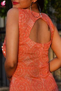 Buy Orange & White Printed Modal Rayon Kurti Set by Colorauction - Online shopping for Kurti Sets in India Kurti Back Neck Designs, Simple Kurta Designs, Silk Kurti Designs, Churidar Neck Designs, Kurta Neck Design, Neck Designs For Suits, Fancy Blouse Designs, Kurta Designs Women, Kurti Designs Party Wear