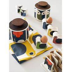 Brand new Orla Kiely egg cups, salt & pepper shakers and toast rack!