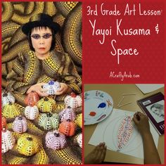 A Crafty Arab: 3rd Grade Art Lesson: Yayoi Kusama and Space. To celebrate International Women's Day today, I taught my 3rd grade students an art lesson on Japanese artist Yayoi Kasama. Check out my polka dot pumpkin art lesson plan for your students too.