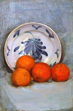 Gorgeous colors. Such a master of simplicity. Piet Mondrian - Still Life with Oranges, 1899