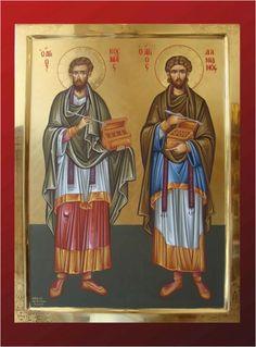 Cosmas and Damian Religion, Saints, Spirituality, Baseball Cards, Painting, Google, Byzantine Icons, Fresco, Religious Pictures