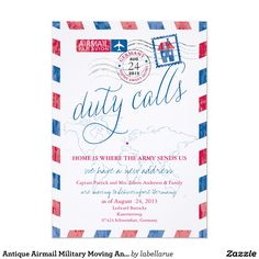 Antique Airmail Military Moving Announcement