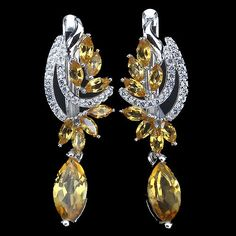 GRACEFULLY NATURAL RICH YELLOW CITRINE-WHITE TOPAZ STERLING 925 SILVER EARRINGS #Huggie